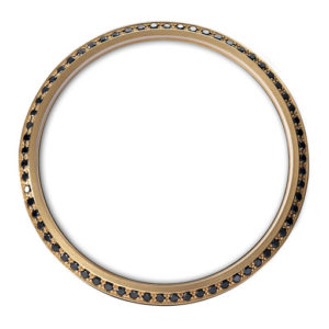 gold bezel with black diamonds